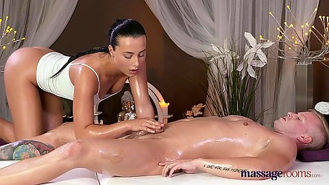 Lucky guy receiving full oil massage with some sex from naughty Anna Rose