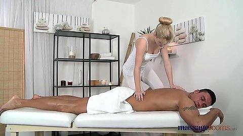 Excellent blonde Sofia wearing sexy yoga pants for private massage