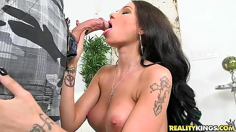 Big boobs all perky latina Raven Bay fellatio and deep throat