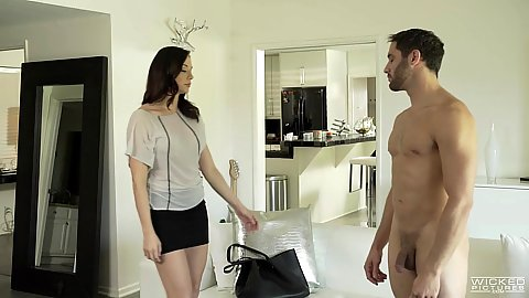 Zealous fully clothed Chanel Preston gets naked with guy