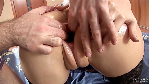 Oiled up and stretched for some nice Russian girl anal plowing Anastasia II