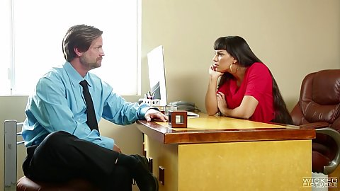 Office chatting and seduction wtih Mercedes Carrera