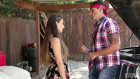 Fully clothed angelic Cassidy Klein banging her mechanic
