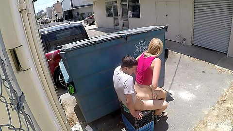 Captivating public sex with Alexa Grace sitting on dick behind a dumpster in voyeur