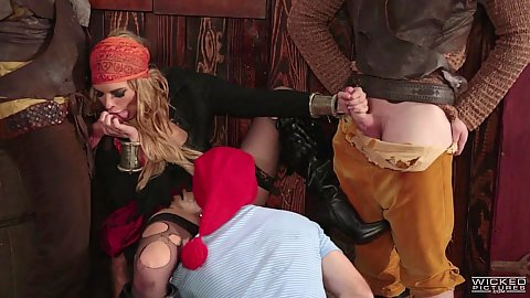 Keira Nicole works the pirates in parody gang bang Keira Nicole