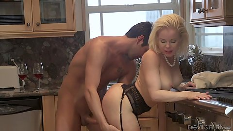 Lovely lingerie milf Nikki Delano enjoying making out in kitchen