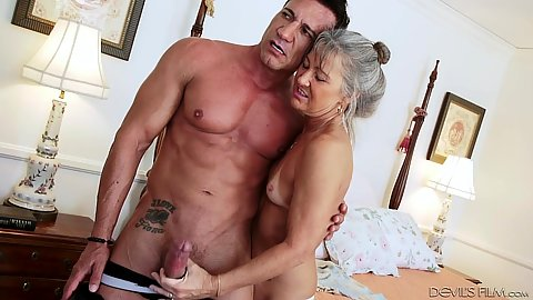 Horny granny with natural small boobs Leilani Lei works some shaft