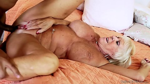 Black cock white granny pumped with legs open on bed Mandy McGraw