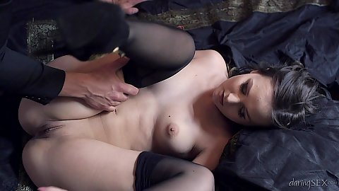 Nice pussy girl Anina Silk raising her legs for front penetration