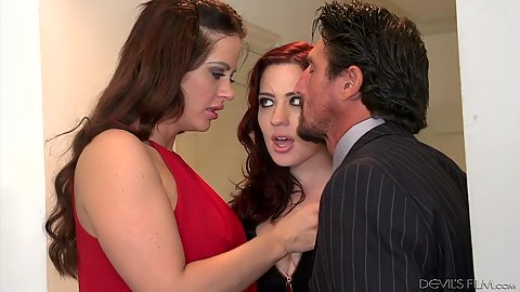 Threesome undressing with Jessica Ryan and Holly Heart acting naughty