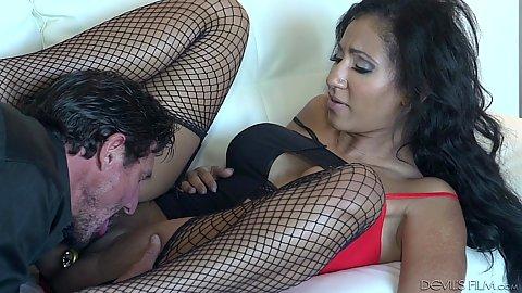 Fishnet pussy eating sluts Sadie Santana