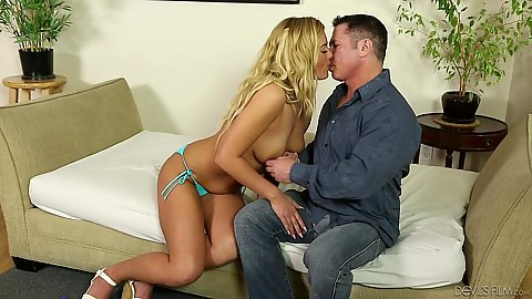 On fire natural breasts blonde girl Summer Day is a babysitter to bff