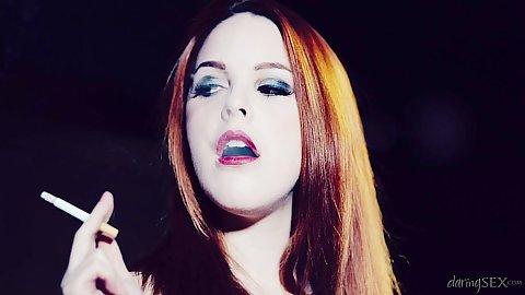 Confident cigarette smoking latina redhead babe Amarna Miller