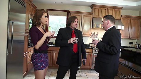 Kitchen talk with boss and wife milf Britney Amber