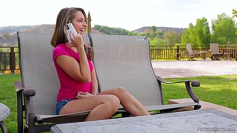 Petite new girl Kimmy Granger having a phone call then sucking dick