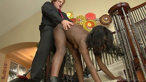 Standing fuck bending over all the way with heavy thrusting for black Monica Rae with white stepdad cock