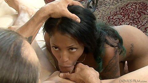 Breathtaking black cutie LaChere Brelle pov deep throat and close up suck