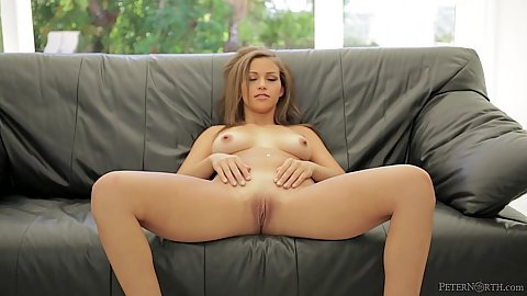Nice looking Karter Foxx spreading her legs and giving handjob