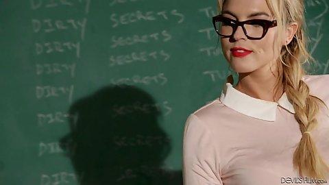 Keira Nicole running the class today wearing sexy uniform