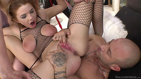 Reverse cowgirl rough sex threesome with nice slave Marina Visconti