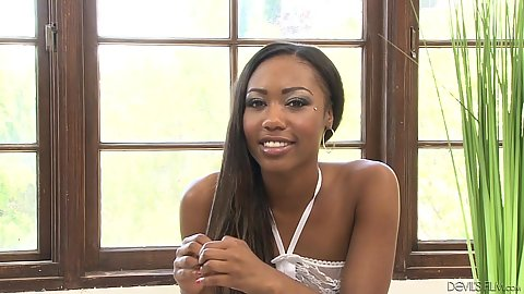 Beautiful college ebony Chanell Heart behind the scenes chat