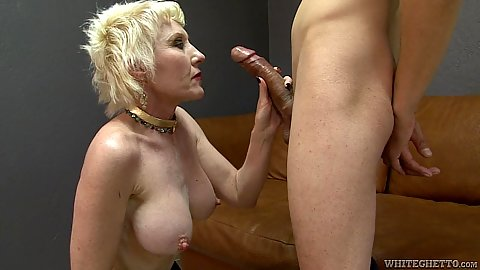 Granny giving head to dick in side view with Dalny Marga