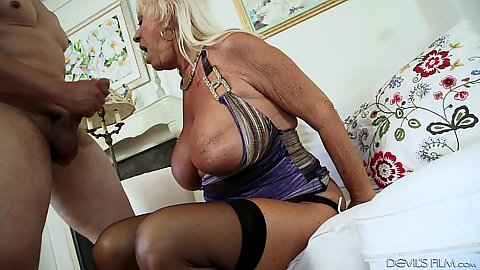 Huge tits granny eaten out Mandi McGraw and then fucked legs wide open
