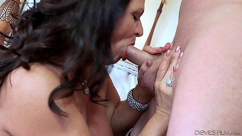 Mature Leylani Wood cock sucking and raised legs sex
