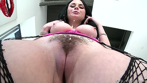 Hairy girl round butt in fishnet posing Veruca James