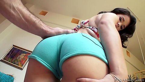 Vixen in tight hotpants Yhivi stripping naked and getting ass lubed