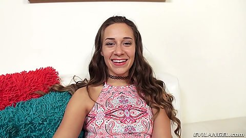 Smiling solo petite Cassidy Klein getting out of her hotpants
