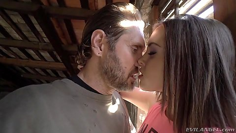 Brunette college girl Zoe Doll having sex with man in warehouse