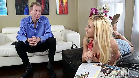 Blonde stepdaughter Marsha May getting touched my older man