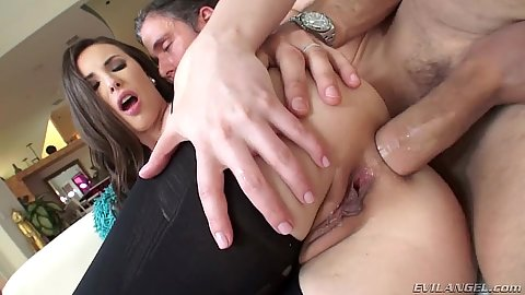 Giving girls Casey Calvert nylon anal sideways ramming