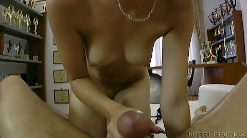 Appealing natural breasts petite cutie Leda climbs on shaft