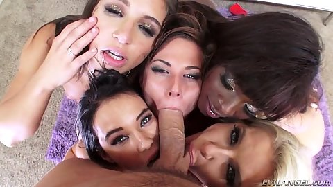Five lucky bitches and a big dick Megan Rain and Abella Danger with Ana Foxxx