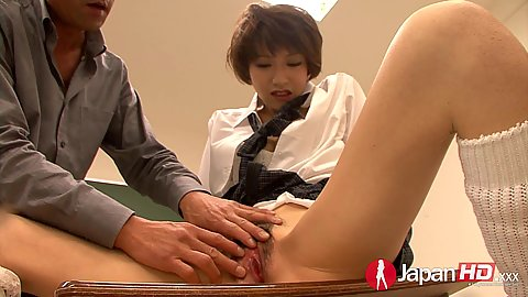 Naughty asian school girl student Akina Hara hairy pussy leaking orgasm in class