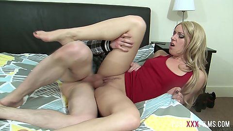 Sideways euro blonde plowing with no panties on Jasmin Lau and stepbrother
