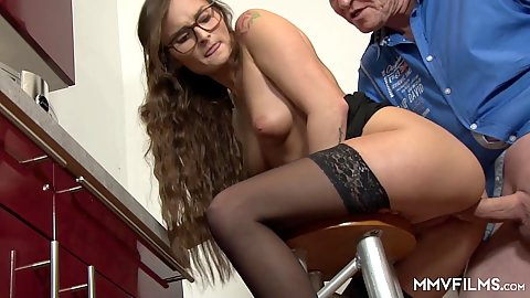 Swinging in the kitchen with medium breasts aroused girl on stool sex