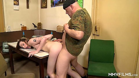 Bent over the table euro skank bang with Kyra Night
