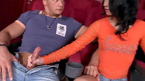Good looking kinky Sonja jerking cock fully clothed and sucking