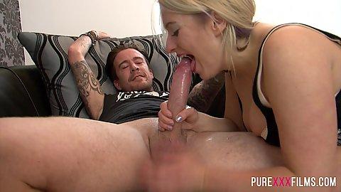 Eager cock sucker Kaz B does a deep throat too