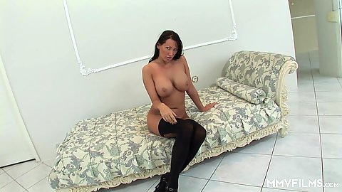 Dreamy busty milf Mandy Bright finger fucks her cunt