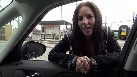 Kinky outdoor Avril Dance picked up for a car ride and public hidden blowjob
