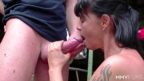 Cock sucking mature mom getting very nasty on the farm outdoors
