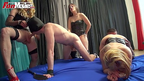 Fetish orgy with some anal sex slaved and a tranny Karina Blow and Larissa Gold
