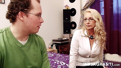 Blonde milf Jenny trying to seduce a young male