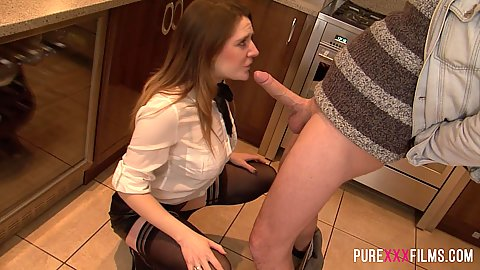 Samantha Bentley squatting down to put dick in mouth