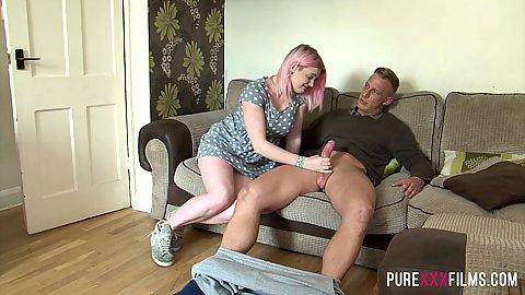 Blonde punk chick Carly Rae not wearing panties under her dress