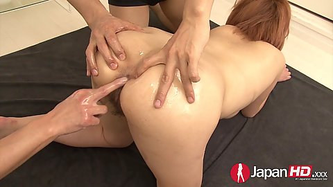 Craving to get holes fingered oiled up asian girl Sara in gang bang